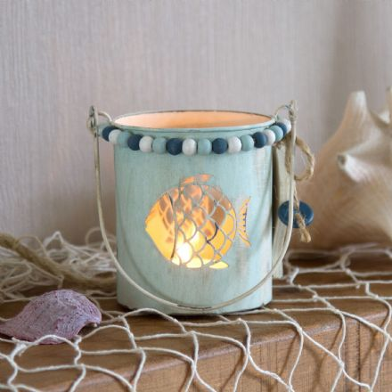 Beaded Metal Turquoise Fish  Candle Holder Bucket Jar